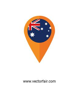 gps navigation pin flag australia icon on white background