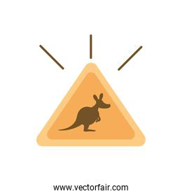 sign board traffic kangaroo australia icon on white background