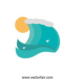 sea wave sunny day icon on white background