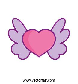 happy valentines day, pink heart with wings lovely