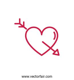 happy valentines day heart pierced for arrow romantic red line design