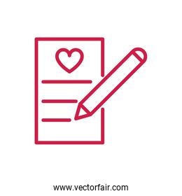 happy valentines day writing letter message heart red line design