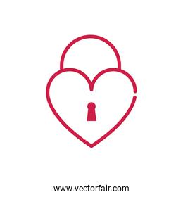 happy valentines day padlock shaped heart love romantic red line design