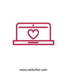 happy valentines day laptop computer heart romantic red line design