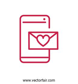 happy valentines day smartphone email heart love red line design