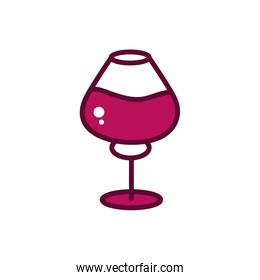 wine glass celebration drink beverage icon line and filled