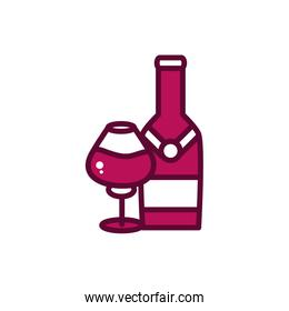 wine bottle and glass cup liquor celebration drink beverage icon line and filled