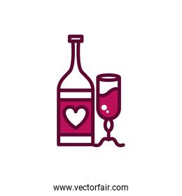 wine bottle and glass cup romantic celebration drink beverage icon line and filled