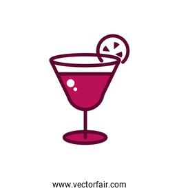 wine glass with slice lime celebration drink beverage icon line and filled
