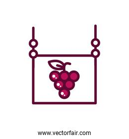 hanging wine board grapes celebration drink beverage icon line and filled