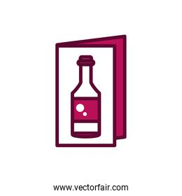 wine bottle menu brochure celebration drink beverage icon line and filled