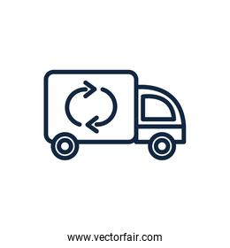 garbage truck recycle ecology environment icon linear
