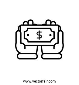 hands with banknote business cash money line design