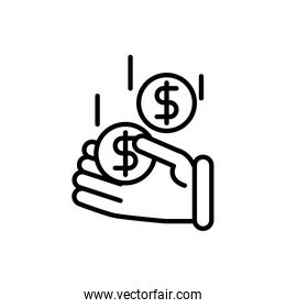 hand with coins business cash money line design
