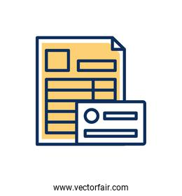 paper financial document with credit card