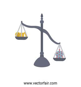Concept of falling on oil market, Scales with money and coronavirus icon, flat style