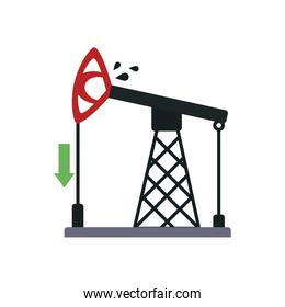 arrow down and oil pump icon, flat style