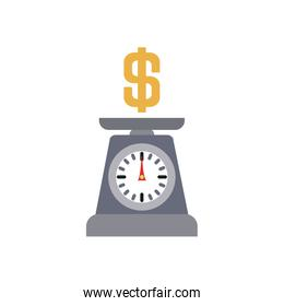 weight scale with money symbol icon, flat style