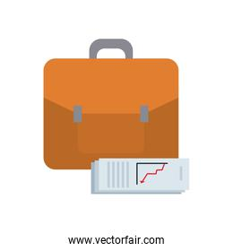 business portfolio and financial report document icon, flat style
