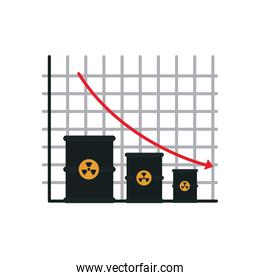 graphic chart with nuclear barrels and decrease financial arrow icon, flat style