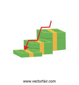 wad of money bills with decrease financial arrow icon, flat style