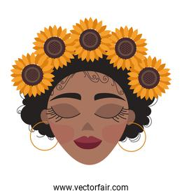 beautiful afro woman head with floral decoration