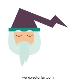 magician fairytale head character isolated icon
