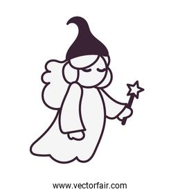 cute Fairy Godmother with wand character