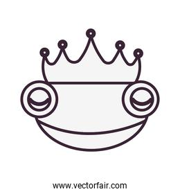 toad with crown fairytale character isolated icon