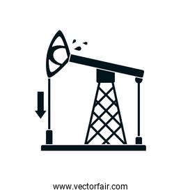arrow down and oil pump icon, silhouette style
