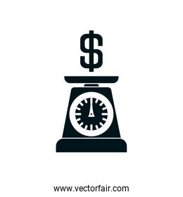 weight scale with money symbol icon, silhouette style