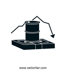 wad of money and oil barrel with decrease financial arrow icon, silhouette style