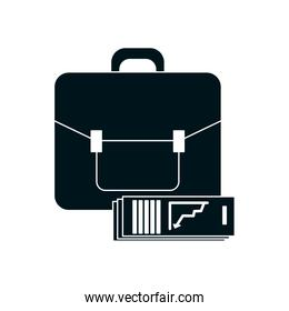 business portfolio and financial report document icon, silhouette style