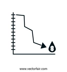 graphic chart with decrease financial arrow and oil drop with money symbol icon, silhouette style