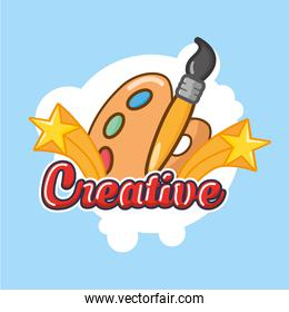 creative lettering with paint brush and pallete