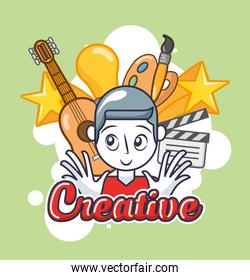 creative man with accessories icons