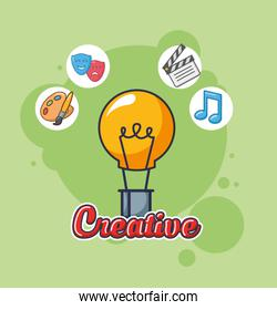 creative bulb with accessories icons