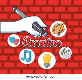 creative lettering with hand writing and accessories