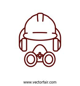 safety helmet, headphones and gas mask icon, line style