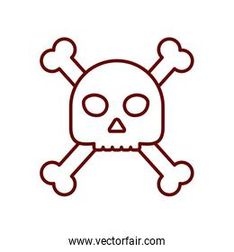 skull and crossbones icon, line style