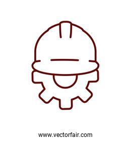 safety helmet and gear wheel icon, line style