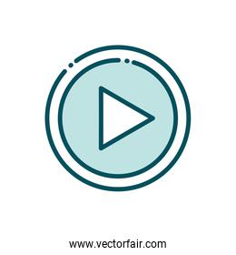 video player button social media line and fill