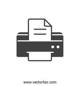 office equipment paper printer supply silhouette on white background