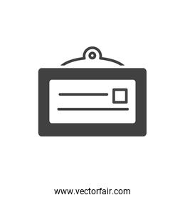 office id card personal stationery supply silhouette on white background
