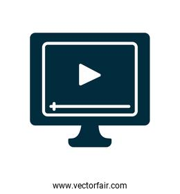 online education concept, computer with video player on screen icon, half color style