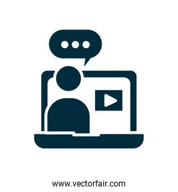teacher dictating online classes at computer icon, silhouette style