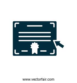 online education concept, academic diploma icon, silhouette style
