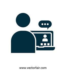 student receiving classes online icon, silhouette style