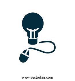 online education concept, idea bulb with mouse device icon, half color style