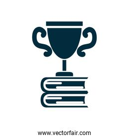 stack of education books with trophy icon, silhouette style